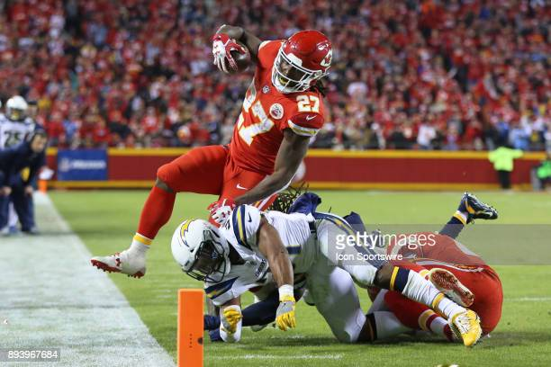 Kansas City Chiefs running back Kareem Hunt is tackled by Los Angeles Chargers free safety Adrian Phillips at the 3 yard line after a 7yard run in...