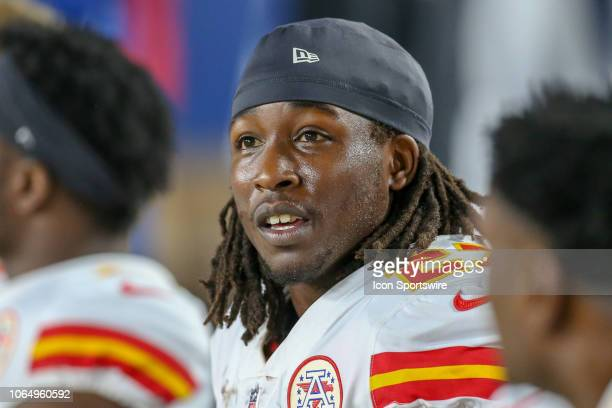 Kansas City Chiefs running back Kareem Hunt on the sidelines during a NFL game between the Kansas City Chiefs and the Los Angeles Rams on November 19...