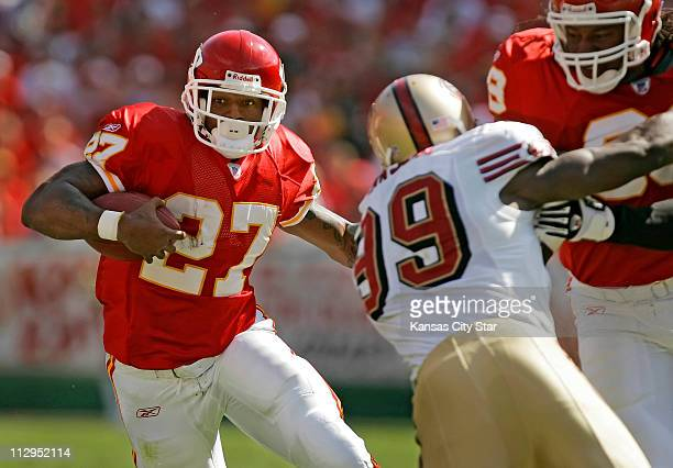 Kansas City Chiefs running back Larry Johnson gained 101-rushing yards on 30-carries against the San Francisco 49ers at Arrowhead Stadium in Kansas...