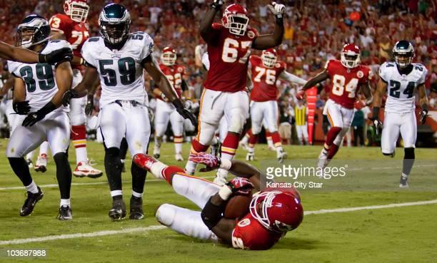 Kansas City Chiefs running back Thomas Jones crosses the goal line for a touchdown in the third quarter against the Philadelphia Eagles at Arrowhead...