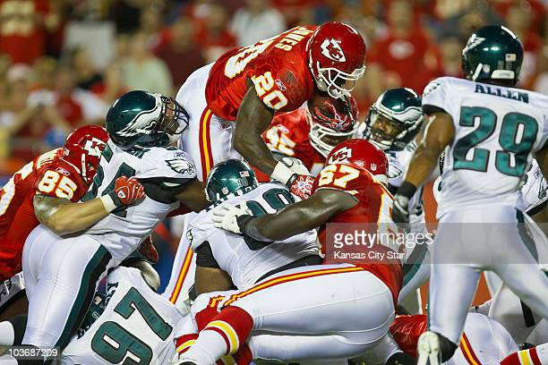 Kansas City Chiefs running back Thomas Jones leaps for a first down on fourth down in the second quarter against the Philadelphia Eagles' defense at...