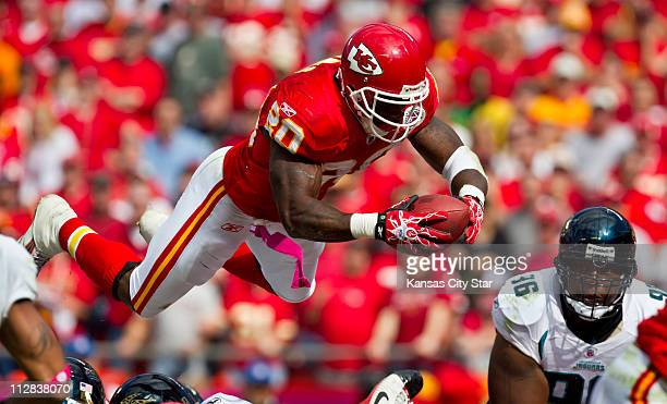 Kansas City Chiefs running back Thomas Jones scores against the Jacksonville Jaguars in the second quarter The Chiefs defeated the Jaguars 4220 at...