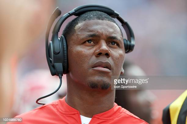 Kansas City Chiefs running backs coach Deland McCullough looks on wearing his Bose headset during game action in a preseason NFL game between the...