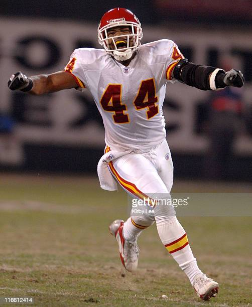 Kansas City Chiefs safety Jarrad Page celebrates during 209 victory over the Oakland Raiders during NFL Network game at McAfee Coliseum in Oakland...