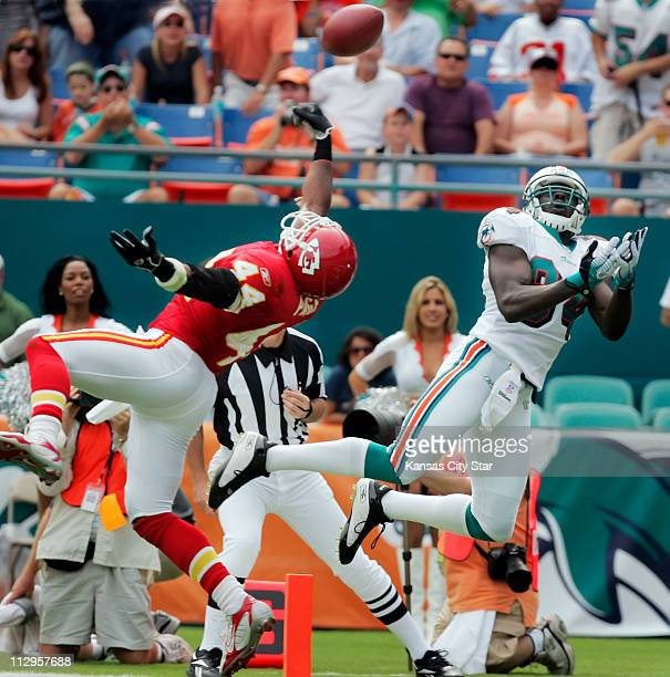Kansas City Chiefs safety Jarrad Page deflected a pass intended for Miami Dolphins wide receiver Chris Chambers during game action The Dolphins...