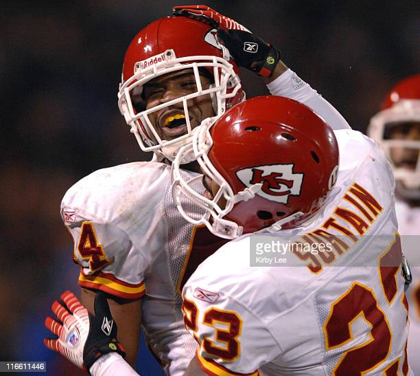 Kansas City Chiefs safety Jarrad Page left is congratulated by Patrick Surtain after an interception in the end zone of fourth quarter of 209 victory...