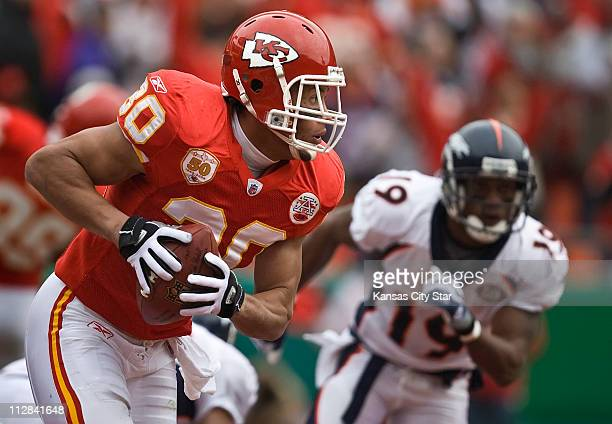 Kansas City Chiefs safety Mike Brown intercepted a pass in the end zone against the Denver Broncos in the first quarter The Broncos defeated the...