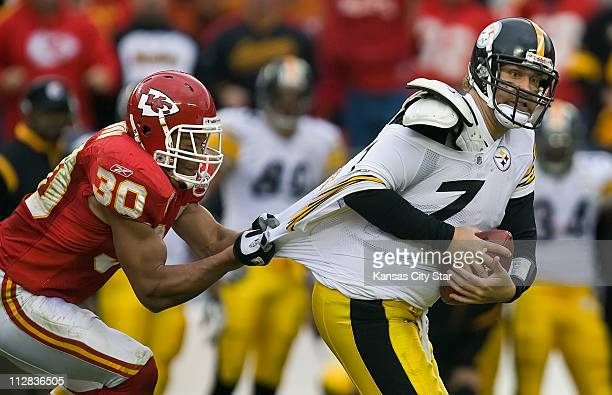 Kansas City Chiefs safety Mike Brown sacks Pittsburgh Steelers quarterback Ben Roethlisberger for a 13yard loss in the fourth quarter of play at...