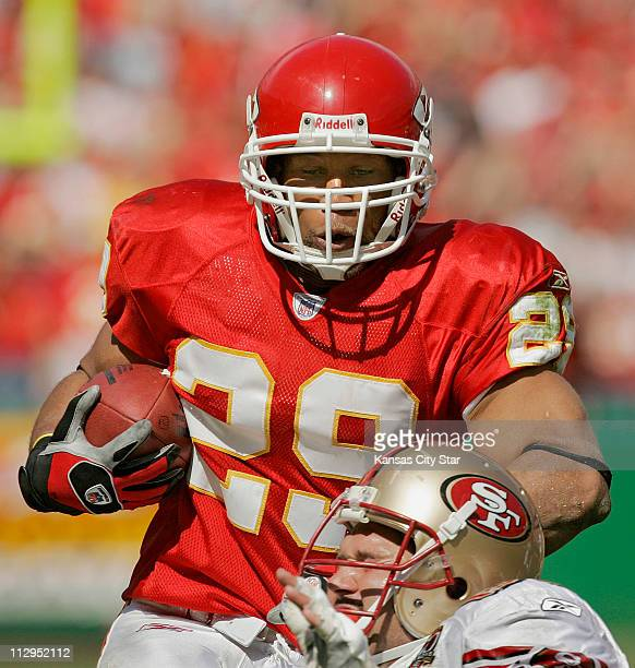 Kansas City Chiefs safety Sammy Knight returns a secondquarter interception 27yards against the San Francisco 49ers at Arrowhead Stadium in Kansas...