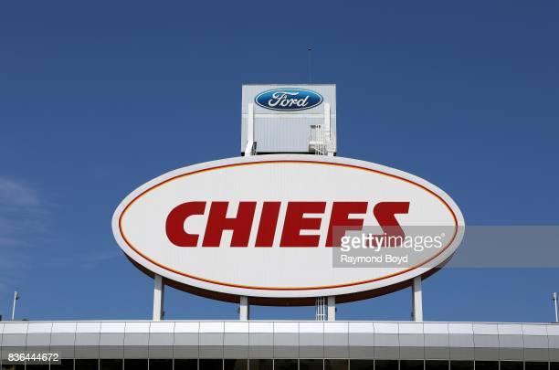 Kansas City Chiefs signage atop Arrowhead Stadium home of the Kansas City Chiefs football team in Kansas City Missouri on August 12 2017