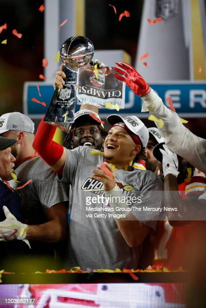 Kansas City Chiefs starting quarterback Patrick Mahomes celebrates after the Chiefs beat the San Francisco 49ers 31-20 to win Super Bowl LIV at Hard...