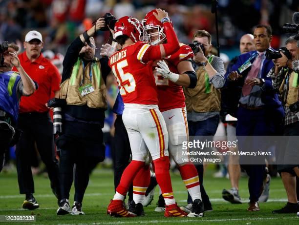 Kansas City Chiefs starting quarterback Patrick Mahomes celebrates with Kansas City Chiefs' Austin Reiter their 3120 win the San Francisco 49ers for...