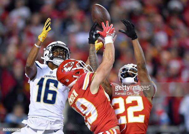 Kansas City Chiefs strong safety Daniel Sorensen and cornerback Marcus Peters knock down an incomplete pass intended for Los Angeles Chargers wide...