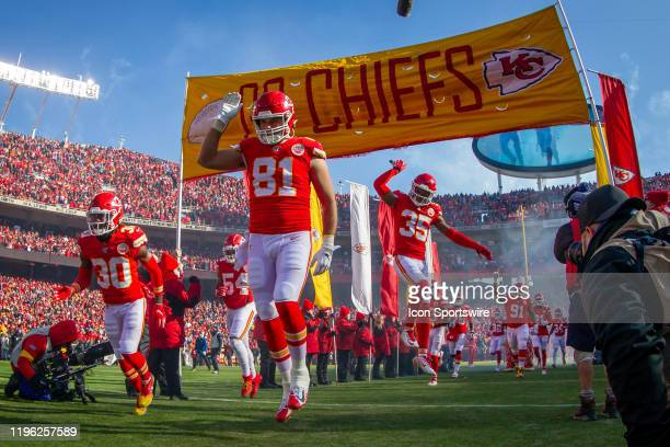 Kansas City Chiefs tight end Blake Bell enters the game against the Tennessee Titans at Arrowhead Stadium in Kansas City Missouri