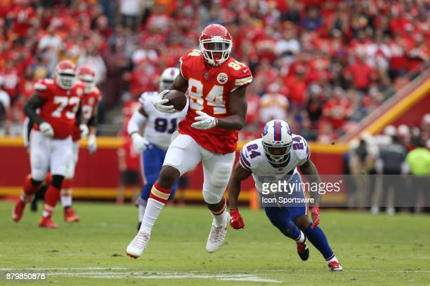 Kansas City Chiefs tight end Demetrius Harris beats Buffalo Bills defensive back Leonard Johnson for a 28yard reception and the Chiefs only first...