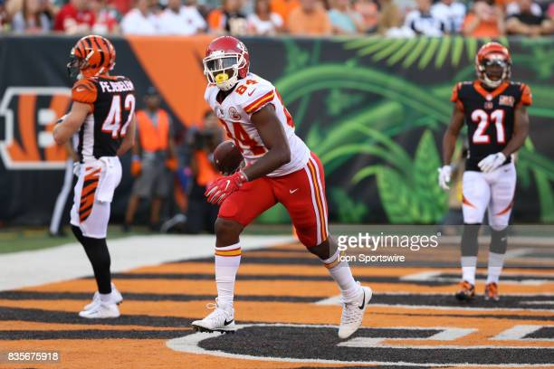 Kansas City Chiefs tight end Demetrius Harris catches a touchdown pass during the preseason game at Paul Brown Stadium in August 19th 2017 in...