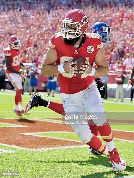 Kansas City Chiefs tight end Sean McGrath hauls in a touchdown pass during the second quarter against the New York Giants at Arrowhead Stadium in...
