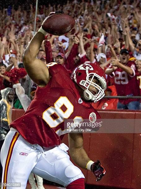 Kansas City Chiefs tight end Tony Moeaki celebrates his second-quarter touchdown against the San Diego Chargers at Arrowhead Stadium in Kansas City,...