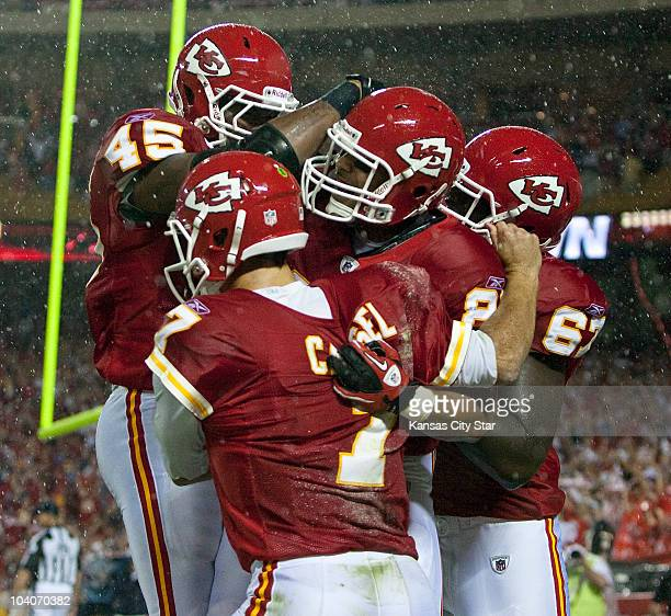 Kansas City Chiefs tight end Tony Moeaki celebrates with teammates after his second-quarter touchdown against the San Diego Chargers at Arrowhead...