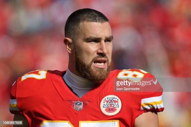 Kansas City Chiefs tight end Travis Kelce before a week 10 NFL game between the Arizona Cardinals and Kansas City Chiefs on November 11 2018 at...