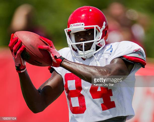 Kansas City Chiefs wide receiver Chris Chambers hauls in a pass during practice at the team's summer training camp at Missouri Western State...