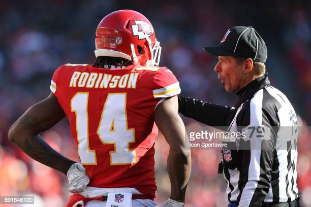 Kansas City Chiefs wide receiver Demarcus Robinson discusses a call with the line judge in the second quarter of an AFC West showdown between the...