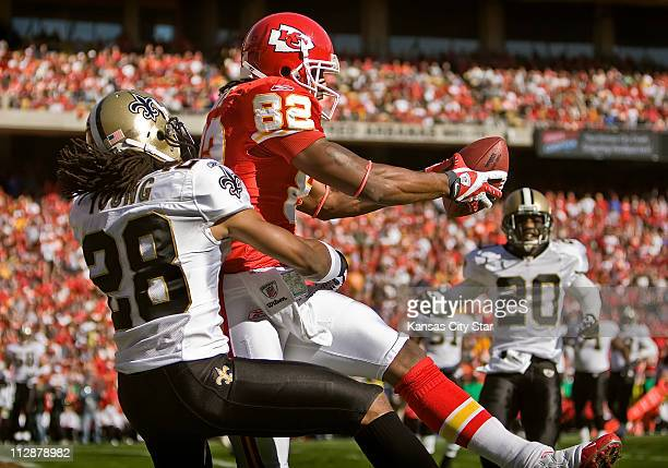 Kansas City Chiefs wide receiver Dwayne Bowe caught a first quarter touchdown pass in front of New Orleans Saints cornerback Usama Young The Saints...