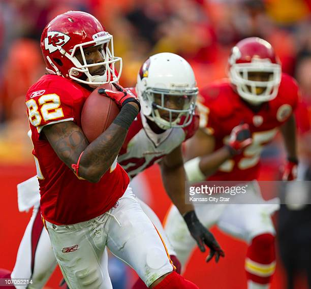 Kansas City Chiefs wide receiver Dwayne Bowe ran for a touchdown after a 38yard pass in the fourth quarter against the Arizona Cardinals at Arrowhead...