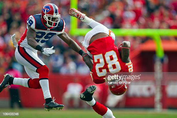 Kansas City Chiefs wide receiver Dwayne Bowe was flipped on a tackle in the first half while pursued by Buffalo Bills cornerback Drayton Florence...
