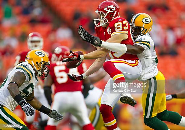 Kansas City Chiefs wide receiver Jerheme Urban couldn't reel in the football on a catch defended by Green Bay Packers cornerback Sam Shields right in...