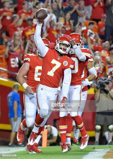 Kansas City Chiefs wide receiver Marcus Kemp celebrates his 1yard touchdown reception from quarterback Patrick Mahomes II in the third quarter...
