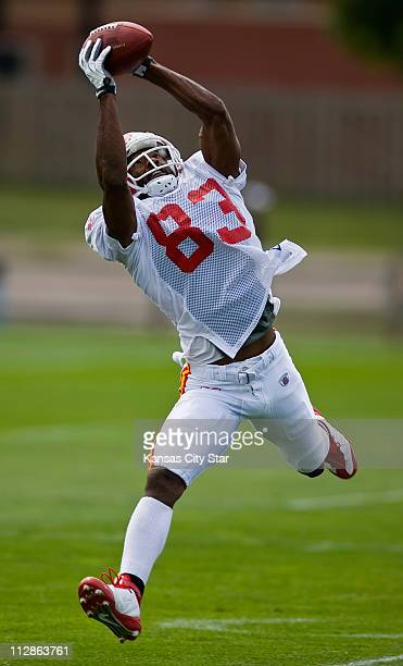Kansas City Chiefs wide receiver Mark Bradley leaps for a pass catch during afternoon training camp practice at the University of WisconsinRiver...