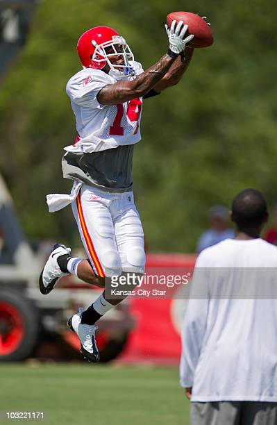 Kansas City Chiefs wide receiver Quinten Lawrence leaps for a reception at practice on Tuesday, August 3 at the team's training camp at Missouri...