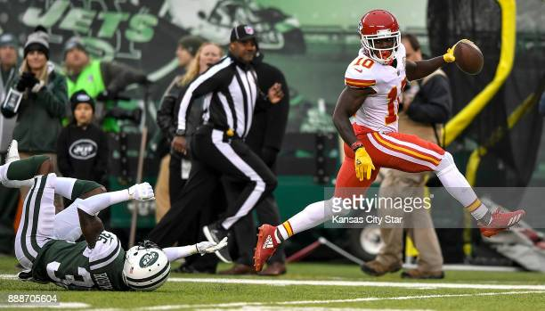 Kansas City Chiefs wide receiver Tyreek Hill beats New York Jets defensive back Doug Middleton for a 79yard touchdown pass in the third quarter on...