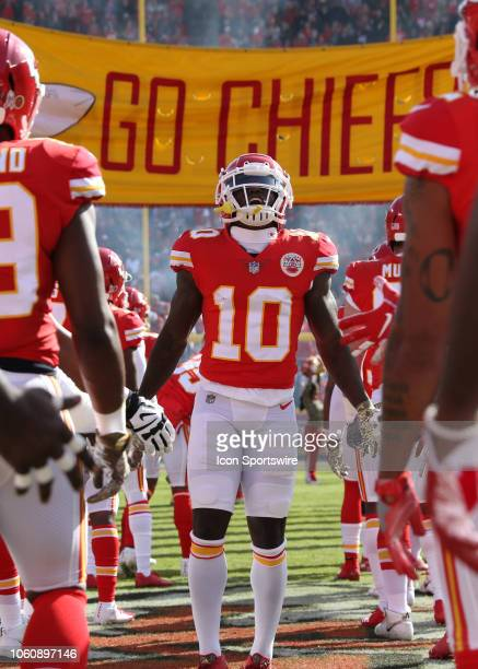 Kansas City Chiefs wide receiver Tyreek Hill before a week 10 NFL game between the Arizona Cardinals and Kansas City Chiefs on November 11 2018 at...