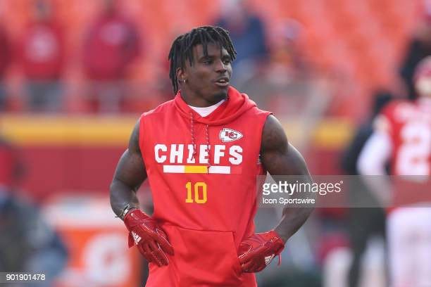 Kansas City Chiefs wide receiver Tyreek Hill before the AFC Wild Card game between the Tennessee Titans and Kansas City Chiefs on January 6 2018 at...