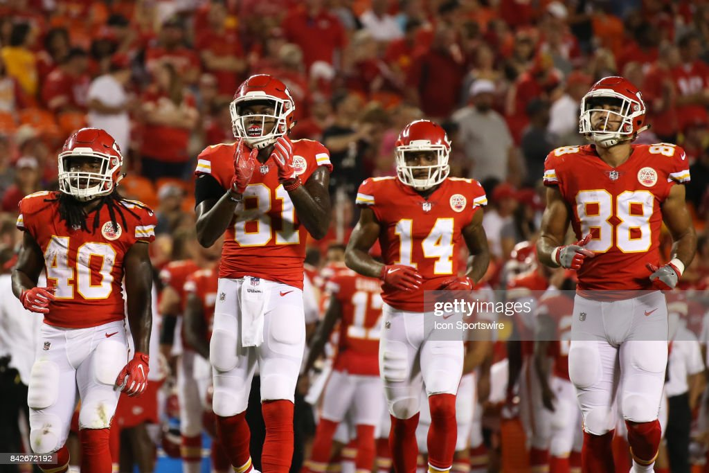 Kansas City Chiefs wide receivers Seantavius Jones (81) Demarcus Robinson (14), tight end Ross Travis (88) and running back Devine Redding (40) in the first half of an NFL preseason game between the Tennessee Titans and the Kansas City Chiefs on August 31, 2017 at Arrowhead Stadium in Kansas City, MO.