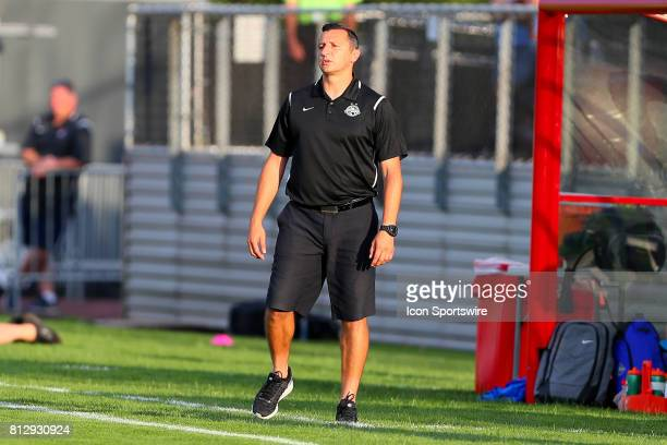 Kansas City head coach Vlatko Andonovski during the first half of the National Womens Soccer League game between Sky Blue FC and FC Kansas City on...