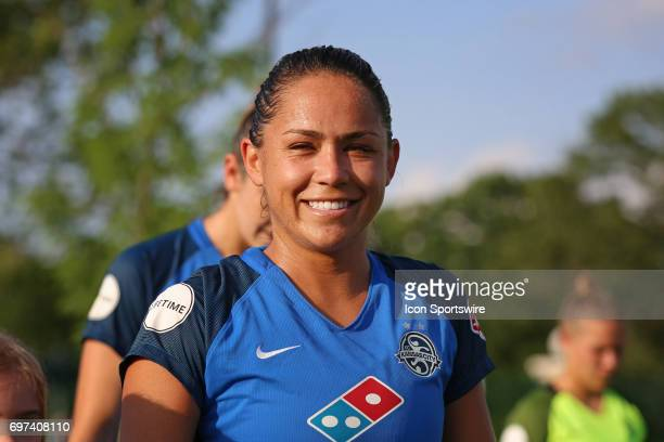 Kansas City midfielder Lo'eau Labonta before an NWSL match between the Seattle Reign FC and FC Kansas City on June 17 2017 at Children's Mercy...