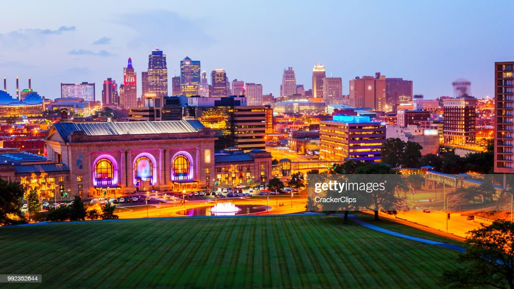 Kansas City, Missouri Skyline at Night (logos blurred) : Stock Photo