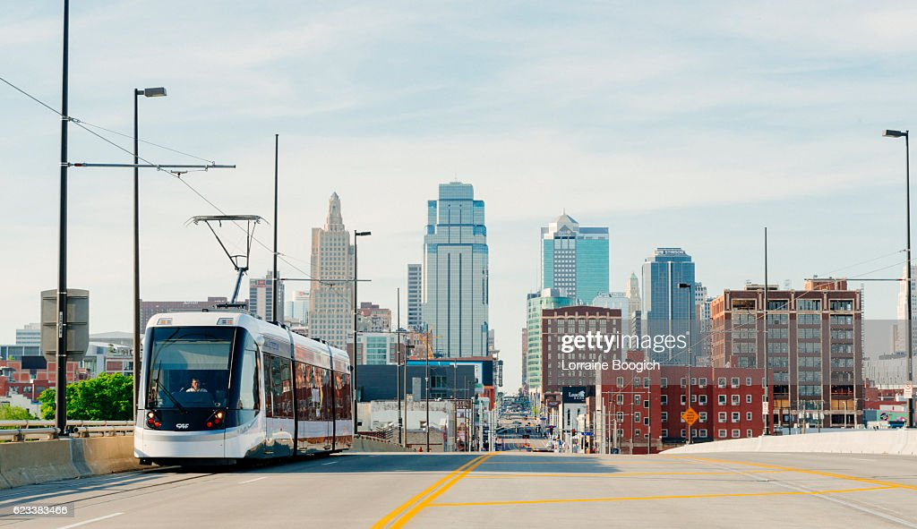 Kansas City Missouri Streetcar Downtown Line Provides Public Transportation USA : Stock Photo