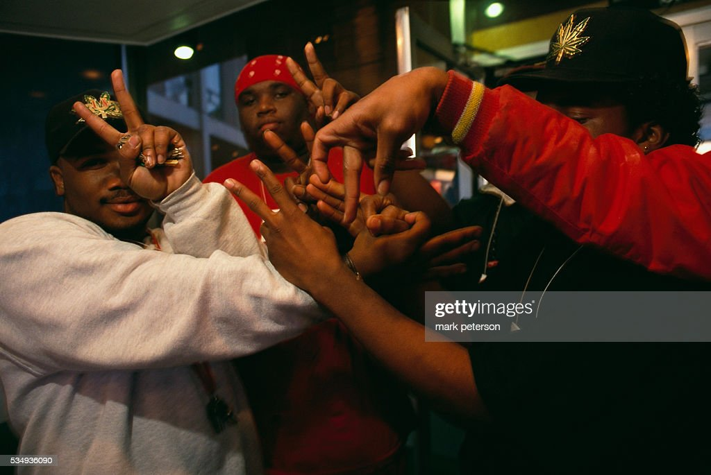 Various gang members gesturing their signs pictures getty images vice lords crenshaw mafia bloods red and other gangs as they attend altavistaventures Images
