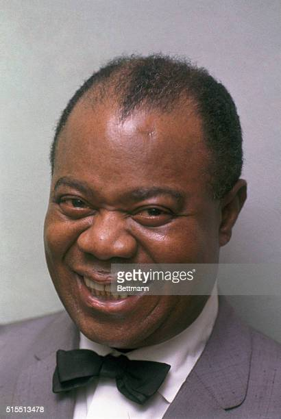 closeup of Louis Armstrong prior to his taking stage for November 7th performance at Kansas City auditorium