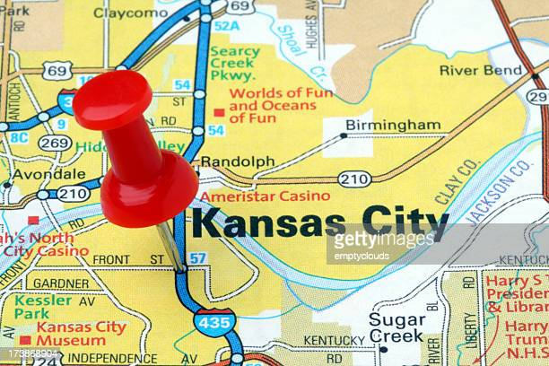 kansas city on a map. - kansas city stock pictures, royalty-free photos & images