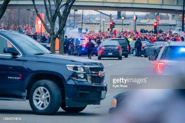 Kansas City Police chase a suspect down the main parade route on Grand Street three hours before the Kansas City Super Bowl Parade on February 5 2020...