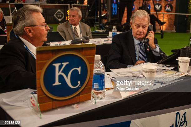 Kansas City representatives Freddie Patek and Art Stewart are seen during the 2013 FirstYear Player Draft at MLB Network's Studio 42 on June 6 2013...