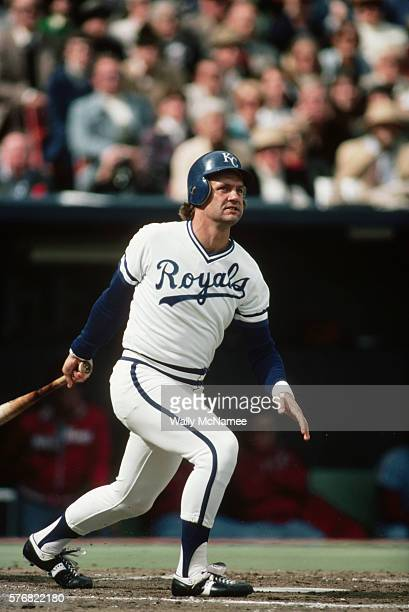 Kansas City Royal ballplayer George Brett swings through the ball during game four of the 1980 World Series played against the Philadelphia Phillies