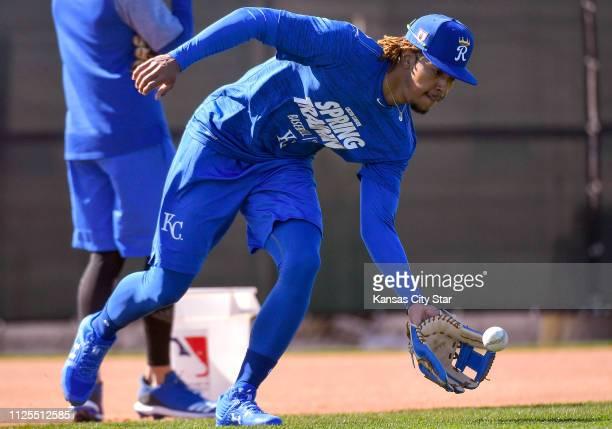 Kansas City Royals Adalberto Mondesi takes ground balls on Saturday February 16 2019 in Surprise Ariz