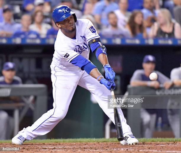 Kansas City Royals' Alcides Escobar hits an infield pop out in the sixth inning during Monday's baseball game against the Tampa Bay Rays on Aug 28...