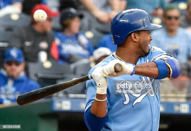 Kansas City Royals' Alcides Escobar is hit by a pitch from Chicago White Sox relief pitcher Bruce Rondon in the eighth inning on Sunday April 29 at...